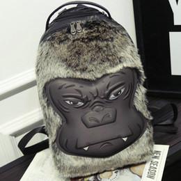 Wholesale Soft Plush Monkey - Monkey face backpack Sport PU leather 3D Orangutan rucksack Plush day pack Rock walk daypack bag