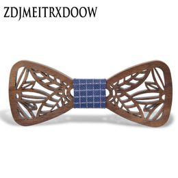 Atacado-New Arrival oco madeira Bow Ties para Mens casamento ternos de madeira gravata-borboleta borboleta forma Bowknots Gravatas Slim Cravat de