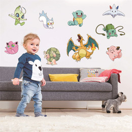 Wholesale Chirstmas Elves Wholesale - Home Décor Poke Wall Stickers Pikachu Elves Magic Baby Sticker Children's Gift Wall Stickers 12 cm(4.7 inch)
