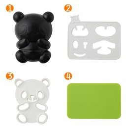 Wholesale Silicon Chocolate Moulds Wholesale - Kuke 4 in 1 Panda Shape Rice Ball Pudding Chocolate Mould Kitchen Bento Accessories Silicon Plate Set