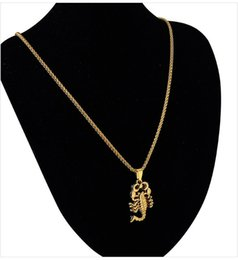 Wholesale Gold Scorpion Pendant - 2016 New Product 18K Gold Plated Small Scorpion Pendant Necklace Hip Hop Jewelry For Fashion People Christmas Gift 1Colors