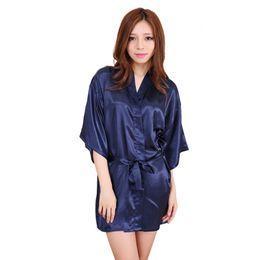Wholesale Short Silk Satin Kimono - Wholesale-Navy blue 2016 Short Style Women's Silk satin Robe Gown Kimono Gown Wedding Party Bridesmaid Robe size S M L XL XXL XXXL
