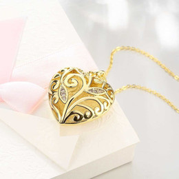 Wholesale Gold Heart Shaped Pendant Necklace - 18KGold Plated Jewelry Heart-shaped hollow out zircon Pendant Necklace Link Chain Jewelry for birthday party Gift