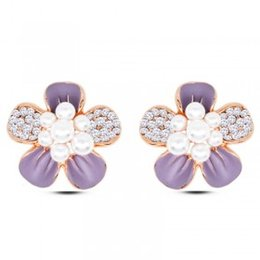 Wholesale Sell Girlfriend - 2016 Korea Lovely Sell lots of girlfriends pearl set auger flowers stud earrings earrings women adorn Personality, sweet and pure and fresh