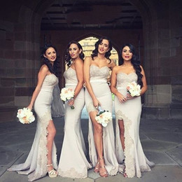 Wholesale Sweetheart Champagne Satin - New Sexy Split Champagne Bridesmaid Dresses Sweetheart Satin Appliques Emebellihed Long Mermaid Prom Dresses Evening Gowns Sweep Train