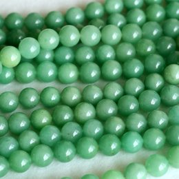 """Wholesale Aventurine Stone Jewelry - AAA Natural Genuine Imperial Green Aventurine Jade Round Loose 4-12mm Beads Fit Jewelry DIY Necklaces or Bracelets 16"""" 04133"""