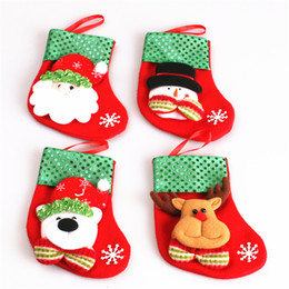 Wholesale Socks Child Decoration - New Christmas Gift for children christmas stockings Socks decoration cute Candy Bag socks christmas Tree Ornaments decorations B0747