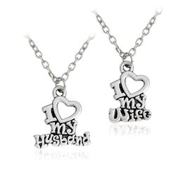 "Wholesale Heart Shape Pendants For Couples - 2 pcs set ""I Love My Husband"" ""I Love My Wife"" Couples Pendant Necklace For Lovers Silver Heart shaped Chain Fashion Jewelry"