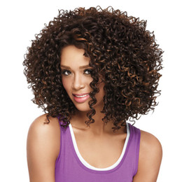 Wholesale Synthetic Wigs Medium Length - WoodFestival African american wigs synthetic short afro kinky curly hair wigs for black women medium length synthetic fiber hair wig