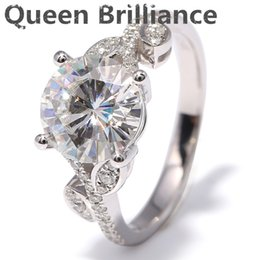 Wholesale Flower Labs - 3 Carat ct F Color Flower Shape Engagement Wedding Lab Grown Moissanite Diamond Ring With Diamond Accents 14K 585 White Gold q171026