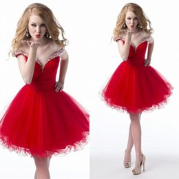 Wholesale Red 12 Mo Dresses - Homecoming Dresses 2016 Mini Tulle Graduation Dresses Charming Sexy Hot Beads Party Gowns High Quality Homecoming Dress Custom Made mo 27