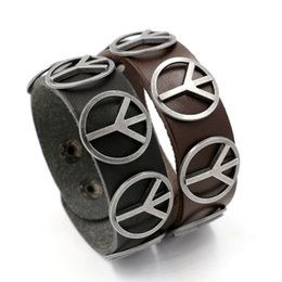 Wholesale Men Wide Leather Bracelets - Vintage Punk Leather Bracelets for Men Women's Wide Leather Peace Mark Bracelet Bangle Wristlet Charm Bracelets