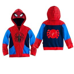 Wholesale Baby Spiderman Costumes - Baby Spring Autumn Zipper Coat Kids Fashion Outwear Baby Boys Costume Sweatshirts Spiderman Hoodie Casual Sport Clothes DHL FEDEX E044