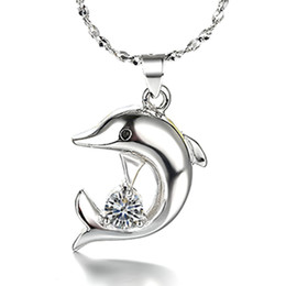 Wholesale 925 Sterling Silver Dolphin Necklaces - Wholesale 925 sterling silver items crystal Dolphin pendant statement necklace vintage wedding charms hot fashion new arrival