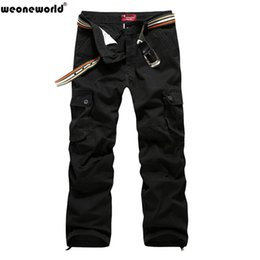 Wholesale Mens Multi Pocket Cargo Pants - Wholesale-WEONEWORLD 2016 Hot Sale Plus Size 30-44 Men's Cargo Pants Casual Mens Pant Multi Pocket Cargos Trousers Men Long Pant