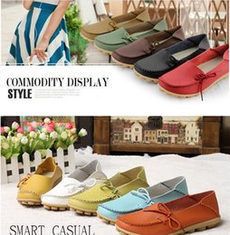 Wholesale Wholesalers Women Flat Shoes - FEDEX UPS 2016 women flats genuine leather shoes MOM Girl soft moccasins candy color boat shoes breathable fashion flat shoes