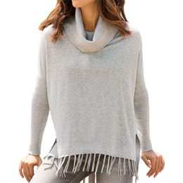 Wholesale Loose Neck Turtleneck - Sweaters Woman Autumn Casual Knitted Turtleneck Sweater Tops Female Solid Color Long Sleeve Tassel Pullovers Shirt Fashion Loose Knitwear