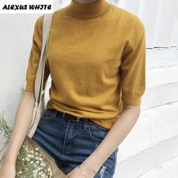 Wholesale Fresh Sweater - Wholesale- 2017 Comfortable Turtleneck Sweater Korean Summer Women Knit Short Sleeve Slim Female Pullover Fresh Clothing Tops Blousa Brand