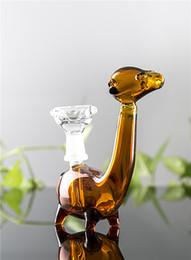 Pequenos animais de vidro on-line-Bongo De Vidro amarelo Dinossauro Pequeno Bongo Animal Bonito Dragão De Vidro Dab Rig Heady Reciclador de Petróleo Plataformas Frete Grátis