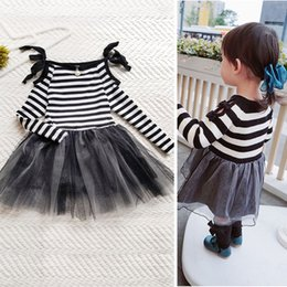 Wholesale Korean Girls Straight Dress - Korean Baby Girls Dresses Long Hold Sleeve Pearl Collar Striped Lace Kids Clothing Lace Tulle tiered Dress Girl Party Dressy Black A7618