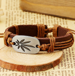 Wholesale Diy Pulseiras - Wholesale-Ireland Christmas Gifts Women Diy Leather Bracelets & Bangles Alloy Maple Leaf Wrap Punk Bracelets For Men Pulseiras Femininas