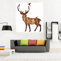 Wholesale Uv Sprays - High Purity Microspray Wall Painting Bedroom Canvas Wall Art Northern European Elk UV Printing Abstract Art Canvas 50*120Cm Unframed