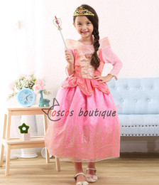 Wholesale Deluxe Costume For Kids - deluxe good quality kids sleeping beauty princess dress girl aurora cosplay costume party long dress pink for halloween