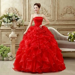 Wholesale Sleevless Wedding Dresses - De A-line Rushed New Noiva 2016 Bride Marrige Red Wedding Dress Custom Made Plus Size Strapless Sleevless Ruffles Pearls Luxury Ball Gown