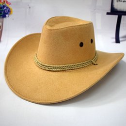 Wholesale Blue Straw Cowboy Hats - Summer Sun Hat Big Men Western Cowboy Hat Riding Leather Hat Cap Outdoor Camping Adult Cap Hats