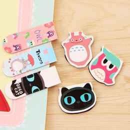Wholesale Cute Cat Bookmarks - Wholesale-4 pcs pack 2 sets Cute My Neighbor Totoro Cat Fruit Magnet Bookmark Paper Clip School Supplies Escolar Papelaria Gift Stationery