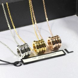 Wholesale Arc Green - Brand European and American multi-layer Arc spring steel pendant necklace titanium steel rose gold necklace men female love couple necklace