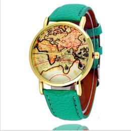 Wholesale World Color Pin - Fashion World Map Watch Geneva Mens Watches Women Dress Leather Watches Quartz Wristwatch Watches For Women Men 100pcs