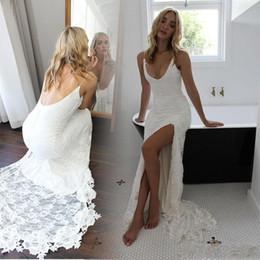 Wholesale Satin Open Back - Cheap Sexy Beach Lace Mermaid Wedding Dress 2018 Open Back Side Split Vestidos De Novia Custom Made Bohemian Trumpet Bridal Party Gowns