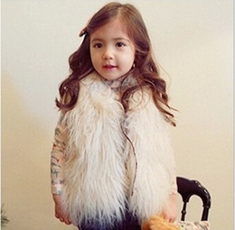 Wholesale White Faux Fur Vest Baby - Girls Cute Waistcoat Fur Vest Warm Vests Sleeveless Coat Children Cheap Outwear Winter Coat Baby Clothes Kids Clothing Girl Waistcoat MC0307