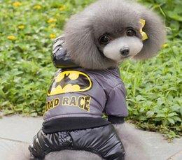 Wholesale Cheap Teddies Wholesale - Superman Dog Pet Sweater Cheap Teddy Dog Hooded Soprts Vest Winter Pet Warm Coat 5 Size 2 Color Min Order 25PCS