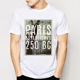 Wholesale Vintage Paris Prints - Track Ship+New Vintage Retro Cool Rock&Roll Punk Tees T Shirts Paris Established 250 Bc