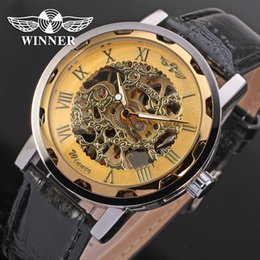 Wholesale Red Winner Watch - 2017 Special Men's Winner Fashion Elite Brand Rome Quantity Hand Leather Leather Watch Car Mechanical Watch Gift Relogio Price