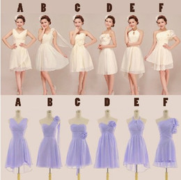 Wholesale Dresses One Shoulder Style Short - Pleated Short Chiffon Bridesmaid Dress 2018 Knee Length Wedding Party Dress Lace Up 6 Style Mixed Order