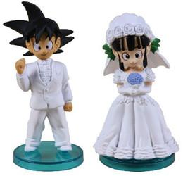 Wholesale Dragon Ball Chichi - Anime DRAGON BALL Son Goku ChiChi Wedding scene WCF DWC7 PVC Dolls Toys Action figures DragonBall in box