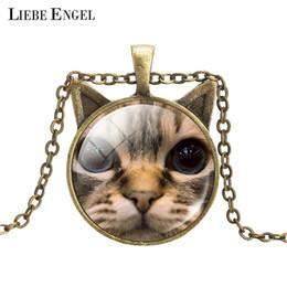 Wholesale Vintage Cat Art - Wholesale-Vintage Bronze Statement Necklace Cat Art Picture Glass Cabochon Pendant Necklace Summer Jewelry Accessories for Women 2016