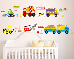 Wholesale Sticker Korean - Excavator Blender Truck Hoist Forklift Trailer Bus Wall Stickers for Kids Boys Room Nursery Decor City Construction Truck Wall Applique