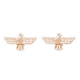 Wholesale Gold Plated Silver Eagle - Wholesale 10Pcs lot New Arrival 2017 High Quality Fashion Jewelry 18K Gold Inca Falcon Ethnic Eagles Stud Earrings for Women