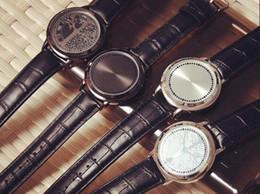 Wholesale Korean Set Phone - 2016 Creative Personality Simply PU Waterproof Touch Screen LED Smartwatch Men And Women Lovers Wristwatch Smart Watch Set