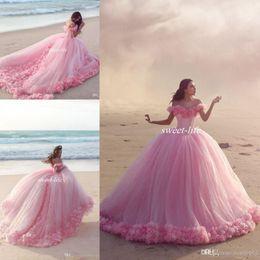 Wholesale Puffy Long Princess Skirt - Puffy 2016 Pink Quinceanera Dress Princess Cinderella Formal Long Ball Gown Wedding Dresses Chapel Train Off Shoulder 3D Flower Bridal Gowns