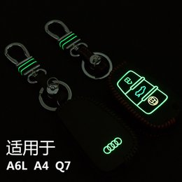 Wholesale Audi Leather Key Chain - High Quality Hand-Sewing Luminous leather Car key cover Car Remote Key Chain Case Holder For A6L A4 Q7 3 Buttons Folding.