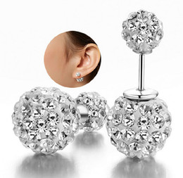 crystal ball ear stud Promo Codes - Double Side Earrings Vintage Shamball Disco Ball Ear Jewelry White Gold Overlay Silver Crystal Ball Bohemian Wedding Double Sided Earrings