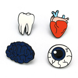 Wholesale Teeth Brooches - Body Organs Funny Enamel Brooches Pins Set Cartoon Brooches for Women Fashion Jewelry Heart Brain Eye Ball Tooth Cute Button Collar Badges