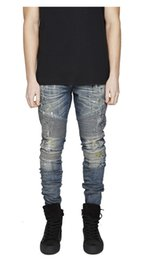 Wholesale Bamboo Fiber Clothing - Wholesale-represent clothing rock urban star 30-36 splash-ink BIKER blue skinny moto designer denim biker 2016 men fashion jeans men pants