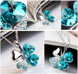 Wholesale Cheap Sterling Silver Pendants - 925 sterling Silver Necklaces Four Leaf Clover Pendant Necklace Lovers Gift Cheap Crystal Rhinestone Pendant Necklace Wholesale Jewelry