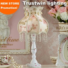 Wholesale Princess Bedside Lamps - Wholesale-Bedside reading room foyer sitting room living room decorative girl Princess fabric lace crystal table lamp light